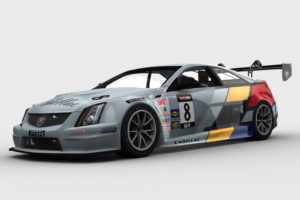 The iRacing virtual Cadillac CTS-V race car, shown here in a 3D